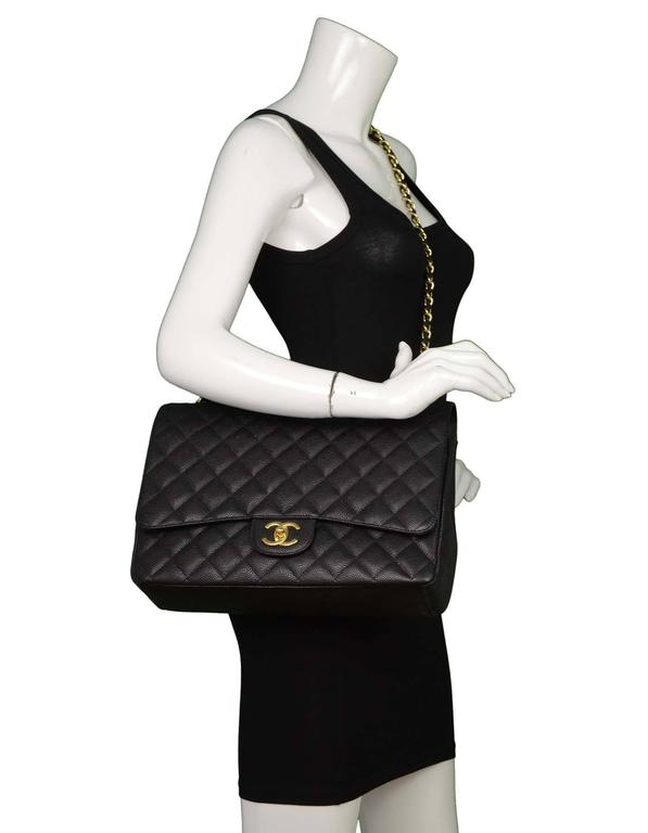Chanel Black Quilted Caviar Classic Maxi Double Flap Bag GHW For Sale 6