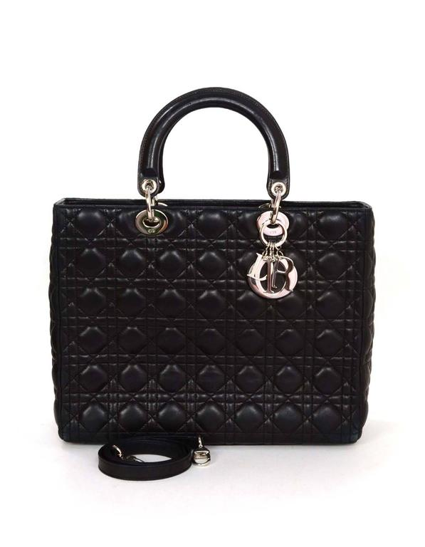 57ccbc476b61 Christian Dior Black Quilted Leather Large Lady Dior Tote Bag SHW For Sale 5