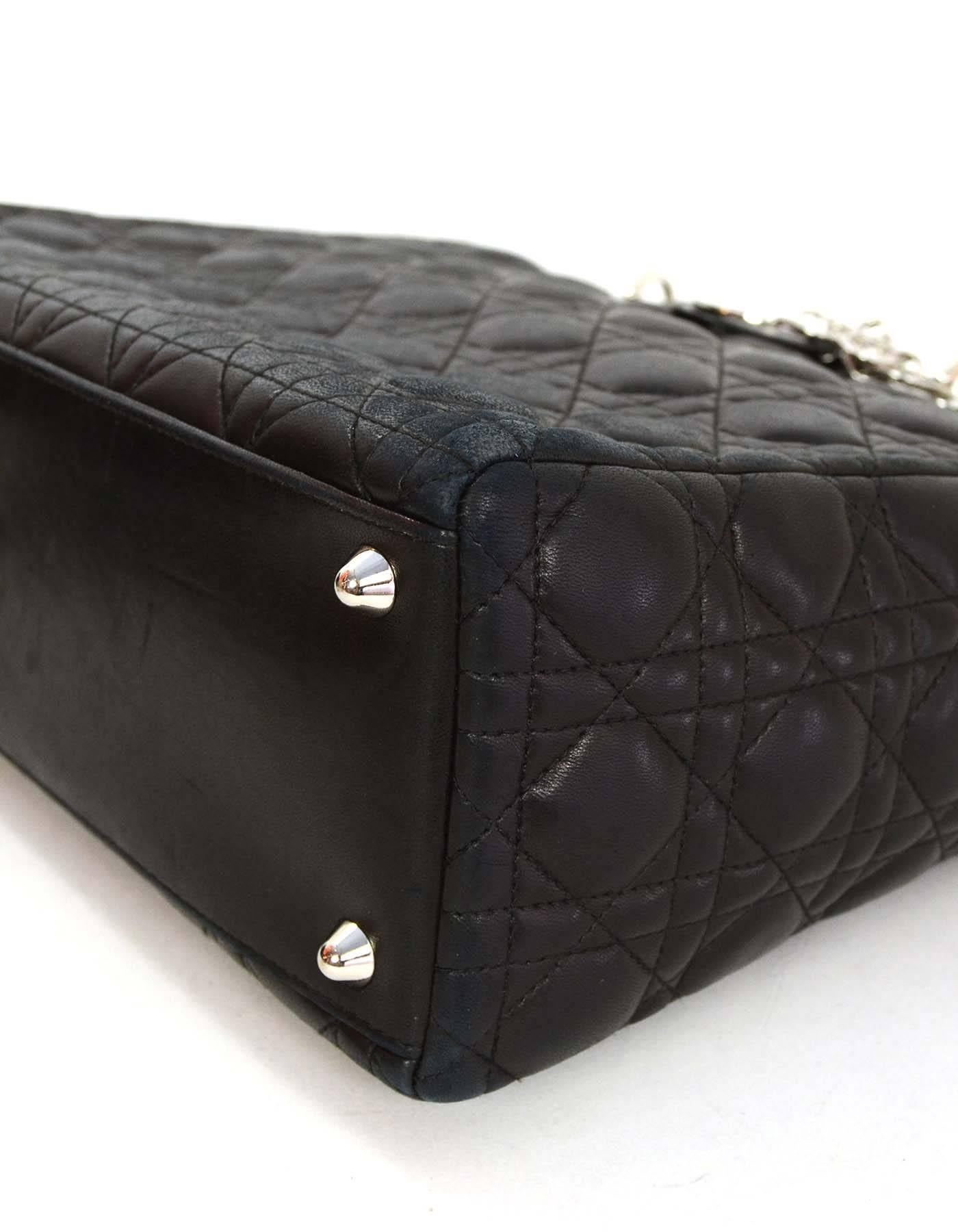b4190160862 Christian Dior Black Quilted Leather Large Lady Dior Tote Bag SHW at 1stdibs