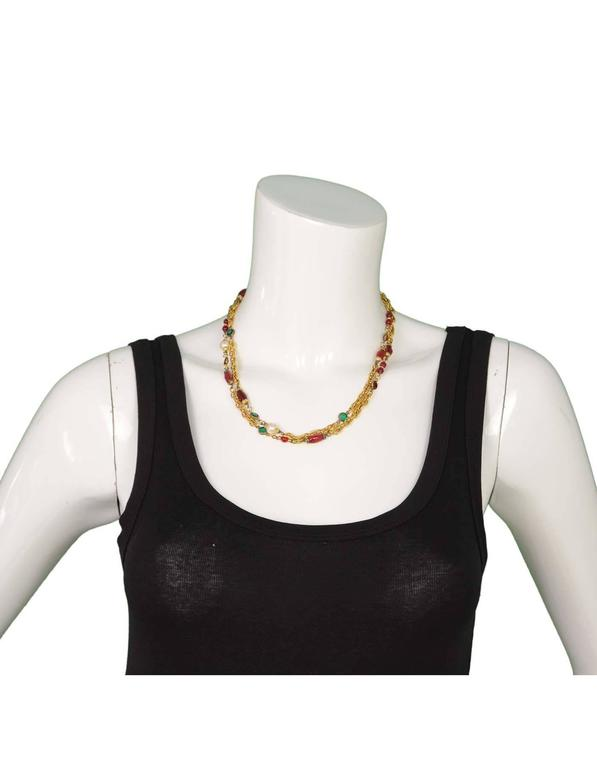 Chanel Vintage '84 Gripoix & Pearl Long Strand Chain Link Necklace For Sale 2