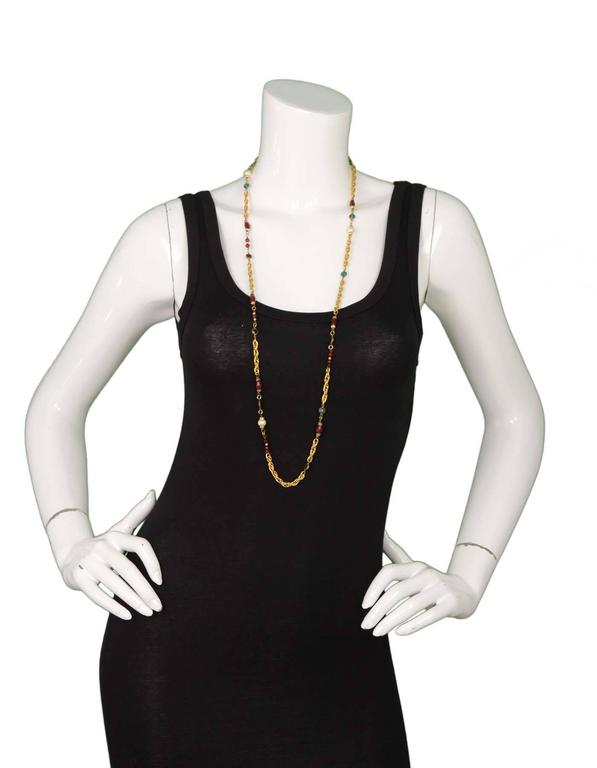 Chanel Vintage '84 Gripoix & Pearl Long Strand Chain Link Necklace For Sale 1