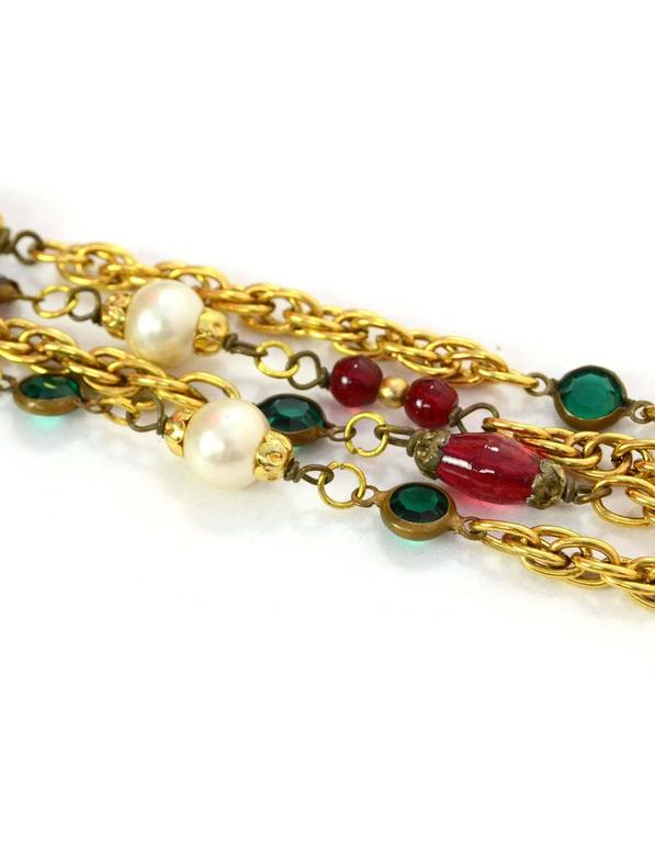 Chanel Vintage '84 Gripoix & Pearl Long Strand Chain Link Necklace In Excellent Condition For Sale In New York, NY