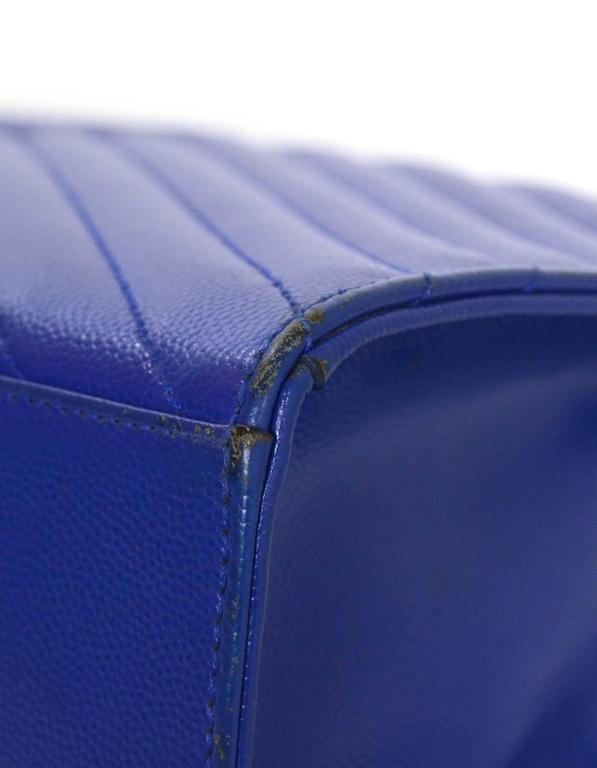 Saint Laurent Cobalt Blue Chevron Shoulder Bag Ghw For