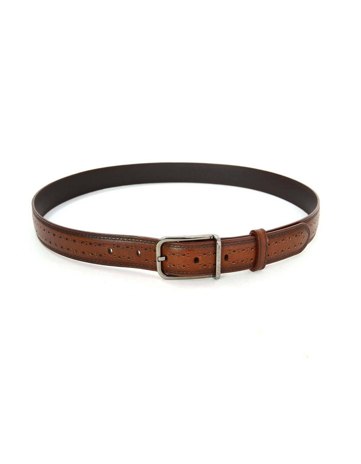 louis vuitton brown leather belt sz 90 for sale at 1stdibs