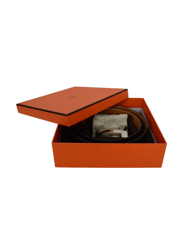 kelly bags hermes - Hermes Black and Tan 42mm Palladium Constance H Belt Kit sz 95cm ...