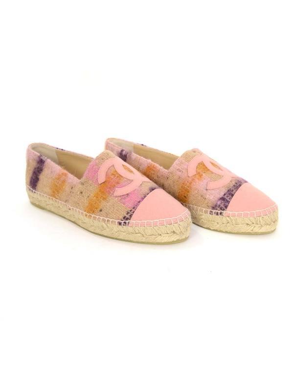 chanel new 2016 pink tweed plaid cc espadrilles sz 39 for