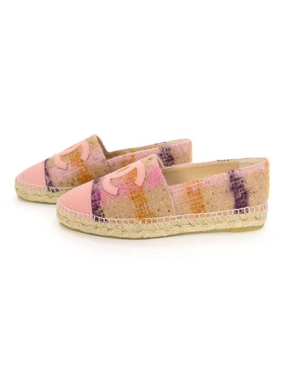 Chanel New 2016 Pink Tweed Plaid Cc Espadrilles Sz 39 For