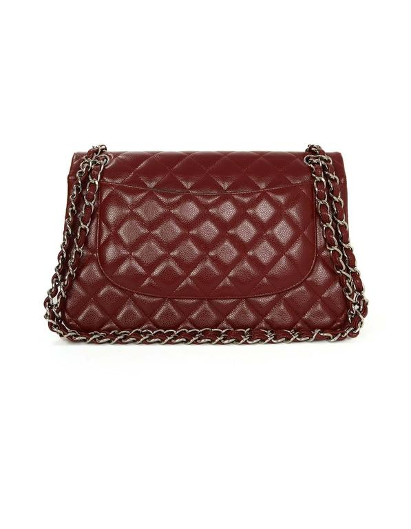 a796039cf683 Chanel Red Quilted Caviar Jumbo Classic Double Flap Bag Features adjustable  shoulder strap Made In: