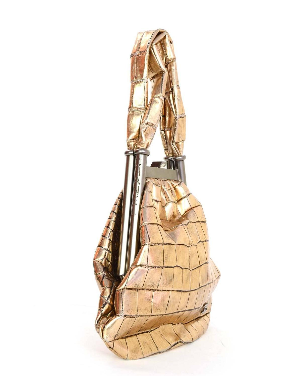 Home Designer Interiors Serial Chanel Metallic Gold Crocodile Frame Handbag For Sale At