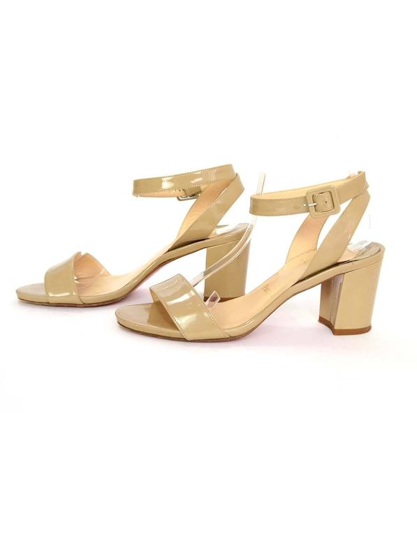 Christian Louboutin Nude Patent Ankle Strap Sandals
