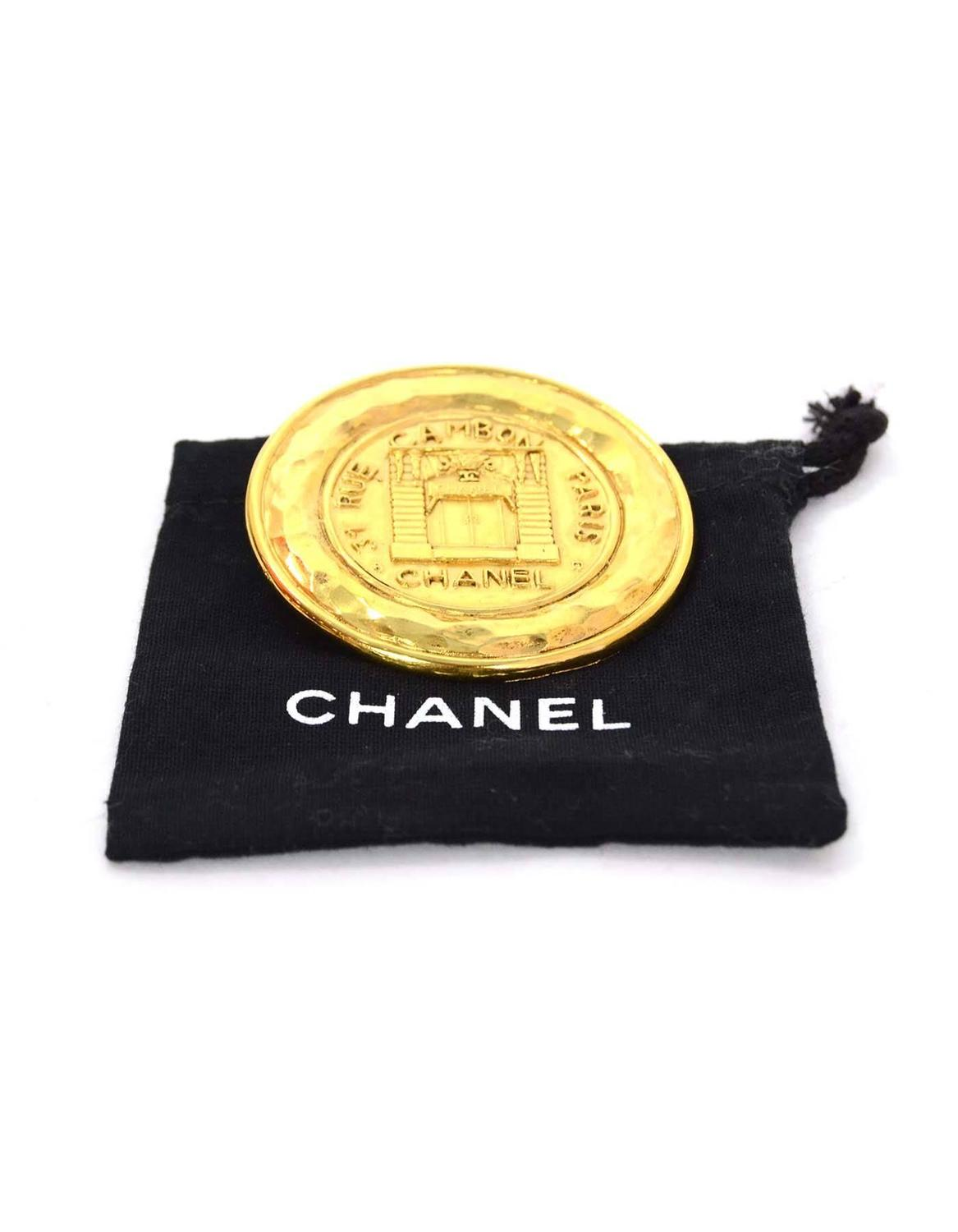 Chanel Vintage '90s Gold Coin Brooch For Sale at 1stdibs