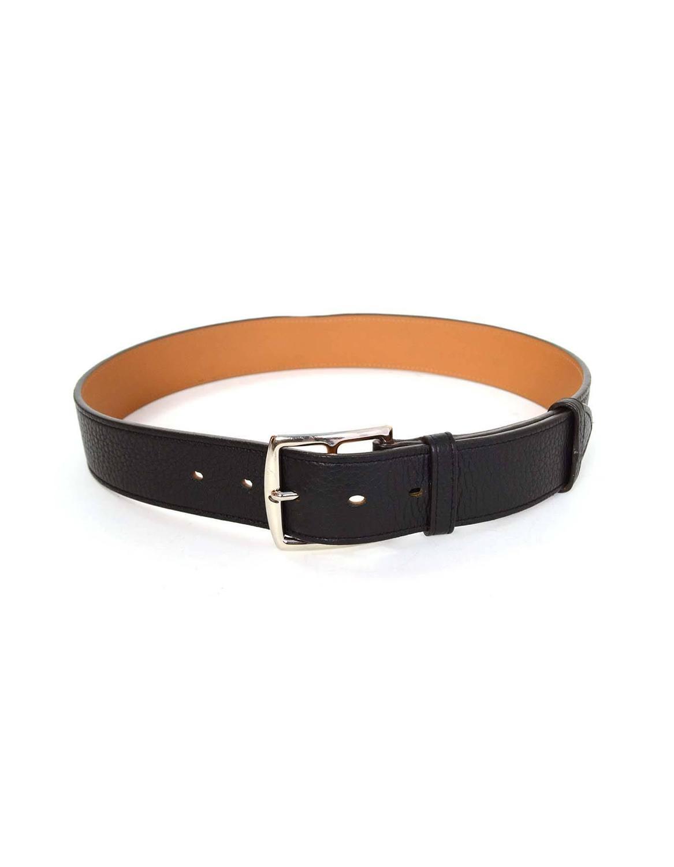 hermes black leather belt sz 75 phw for sale at 1stdibs