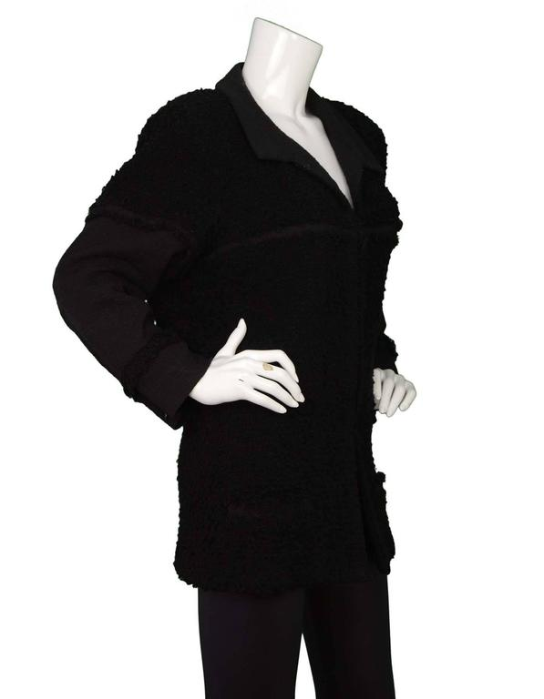 Chanel Black Heavy Boucle Overcoat sz 50 2
