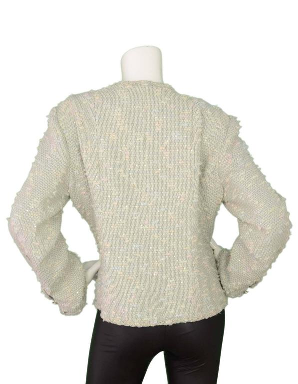 Chanel Pastel Blue Tweed Open Front Jacket sz 50 3