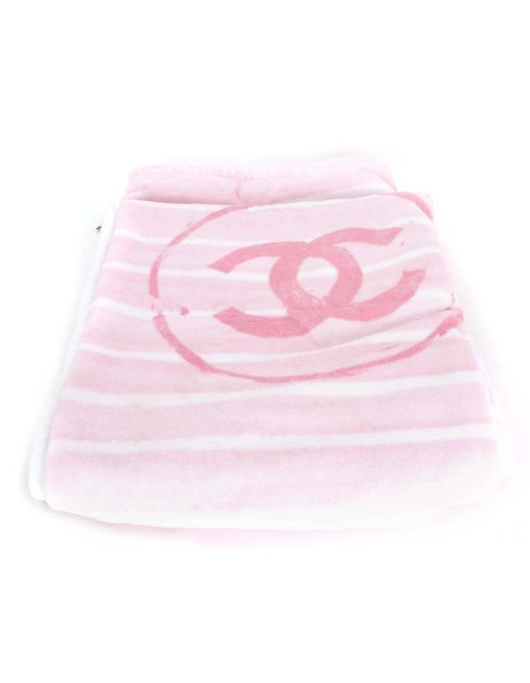 Chanel Pink & White CC Terrycloth Bag & Beach Towel Set SHW 9