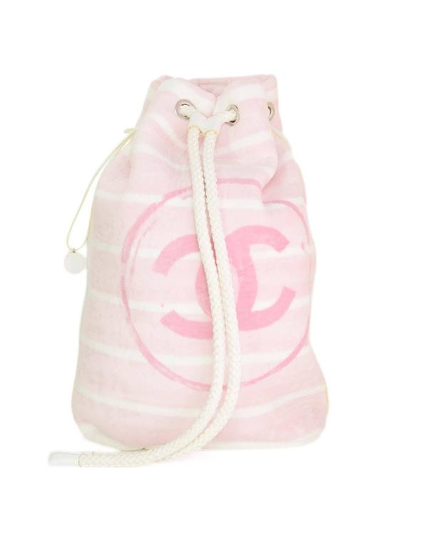 Chanel Pink & White CC Terrycloth Bag & Beach Towel Set SHW 2