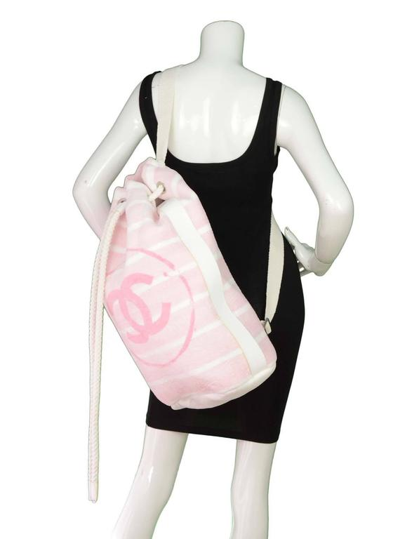 Chanel Pink & White CC Terrycloth Bag & Beach Towel Set SHW 10
