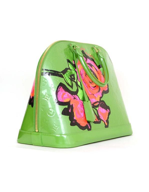 Louis Vuitton Green Monogram Vernis Rare Stephen Sprouse Roses Alma GM 2
