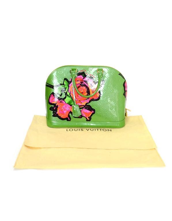Louis Vuitton Green Monogram Vernis Rare Stephen Sprouse Roses Alma GM 9