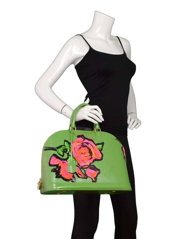 Louis Vuitton Green Monogram Vernis Rare Stephen Sprouse Roses Alma GM 10