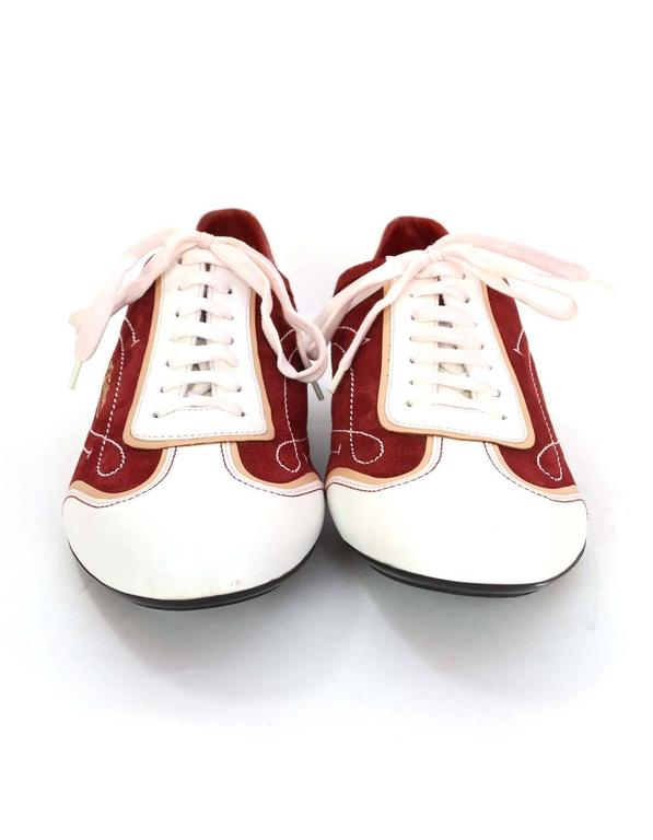 Louis Vuitton Men S Red Suede And White Leather Sneakers