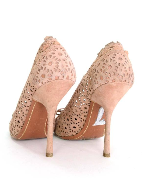Women's Alaia Nude Laser Cut Suede Pumps sz 39.5