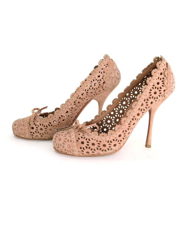 Alaia Nude Laser Cut Suede Pumps