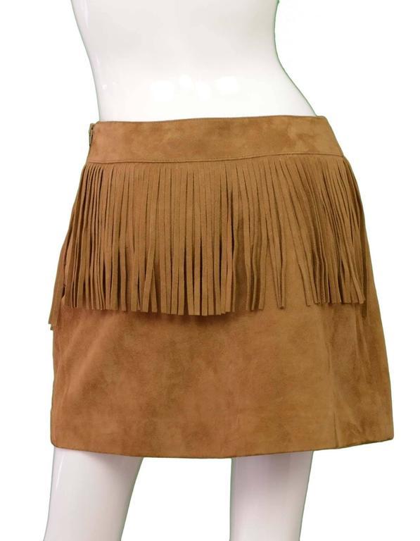 Saint Laurent Tan Suede Fringe Mini Skirt sz 40 3