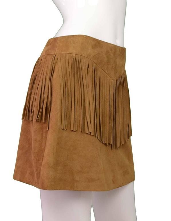 Saint Laurent Tan Suede Fringe Mini Skirt sz 40 2