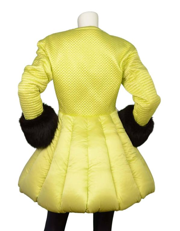 Women's Versace Vintage Collector's Lime Green Quilted Puffer Coat sz 42 For Sale