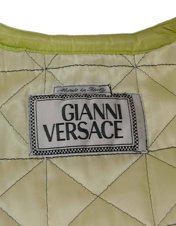 Versace Vintage Collector's Lime Green Quilted Puffer Coat sz 42 For Sale 1