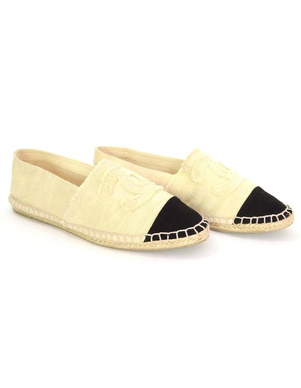 Chanel Black And Ivory Canvas Cc Espadrilles Sz 39 For