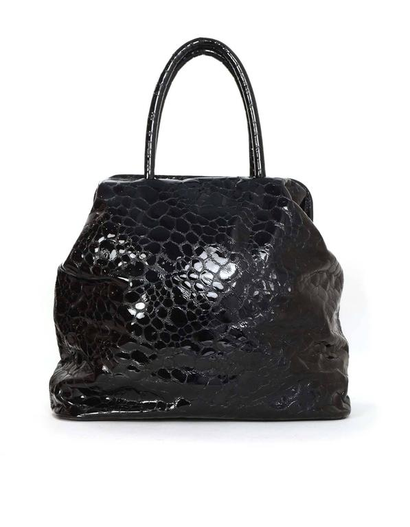 Jil Sander Black Embossed Patent Large Frame Tote Bag SHW In Excellent Condition In New York, NY