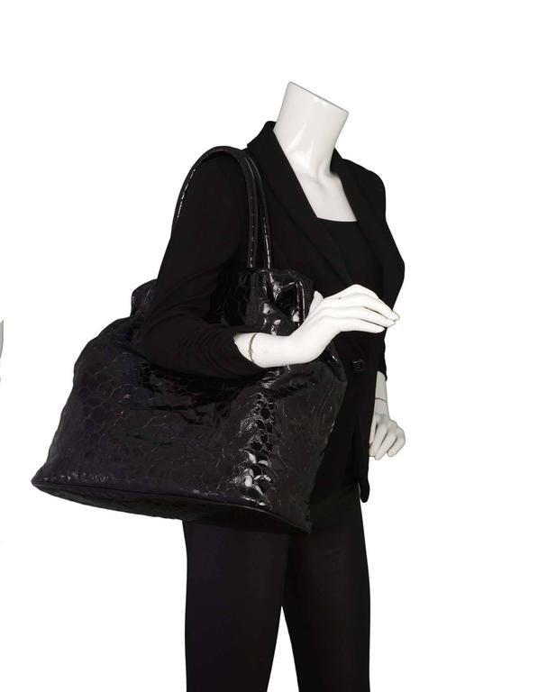 Jil Sander Black Embossed Patent Large Frame Tote Bag SHW 4