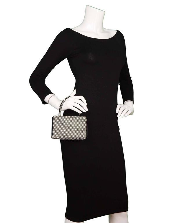 Judith Leiber Black Satin & Crystal Small Evening Bag SHW 5