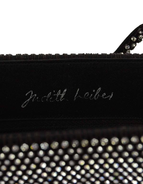Judith Leiber Black Satin & Crystal Small Evening Bag SHW 3