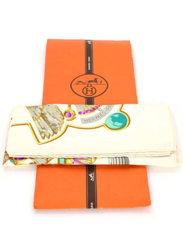 Hermes Ivory & Jewel Tone Printed 90cm Silk Scarf For Sale 2