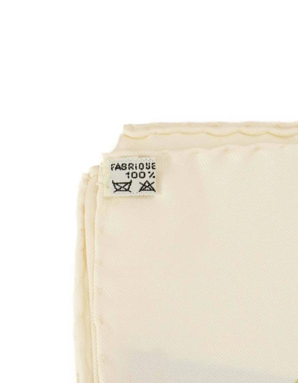 Hermes Ivory & Jewel Tone Printed 90cm Silk Scarf For Sale 1