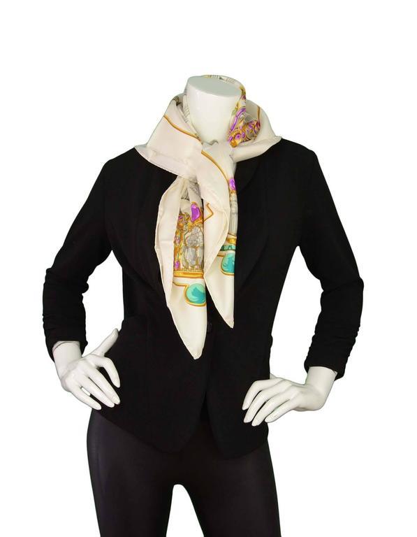 Hermes Ivory & Jewel Tone Printed 90cm Silk Scarf For Sale 3