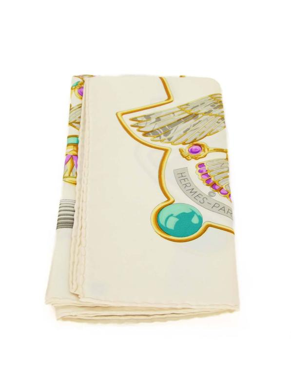 Women's Hermes Ivory & Jewel Tone Printed 90cm Silk Scarf For Sale