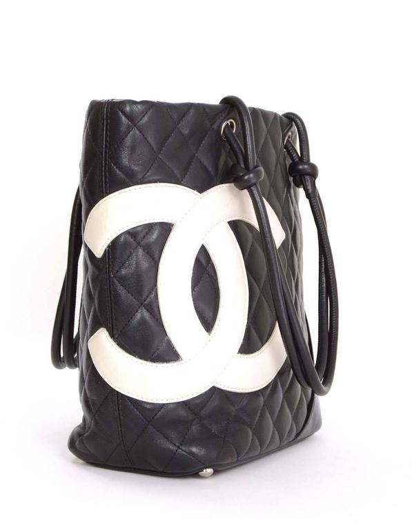 Chanel Black White Leather Cambon Tote Features Large Cc Sched On Front Corner Of
