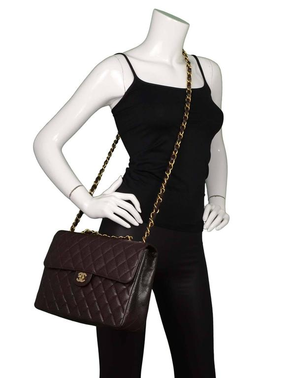 df1a8947c7e237 Chanel Brown Quilted Caviar Leather Jumbo Flap Bag GHW For Sale at ...
