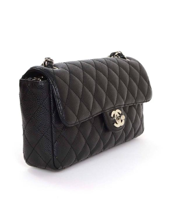 Chanel Black Quilted Caviar Leather East West Flap Bag Shw