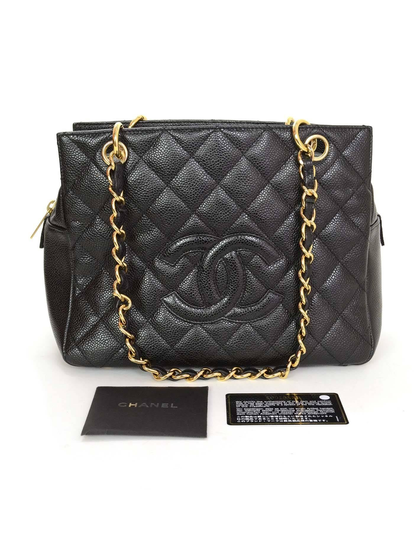 33ce1eb57bee Chanel Black Caviar Leather CC Petite Timeless Tote PTT Bag GHW For Sale at  1stdibs