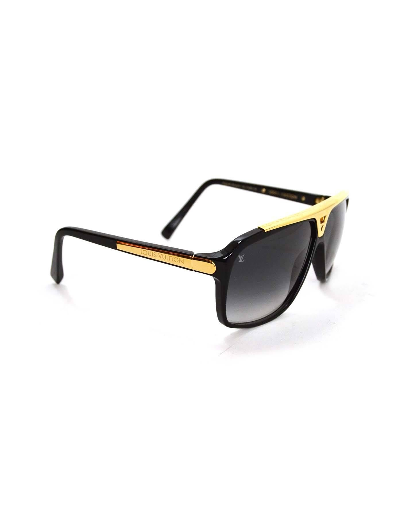 f5696d37002 Louis Vuitton Black and Gold-tone Evidence Sunglasses Rt  760 at 1stdibs
