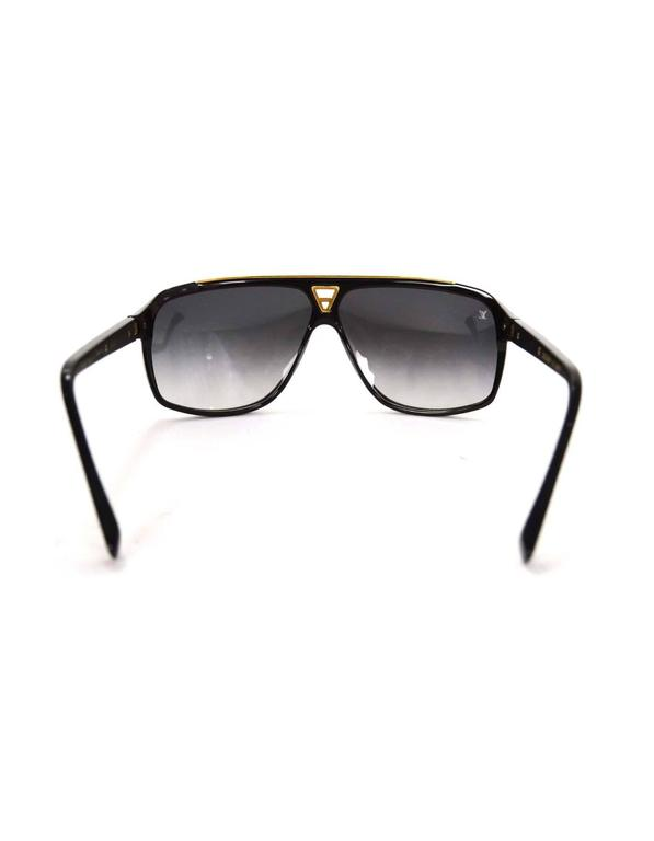 ce9abe1d94 Louis Vuitton Black and Gold-tone Evidence Sunglasses Rt  760 In Excellent  Condition For Sale