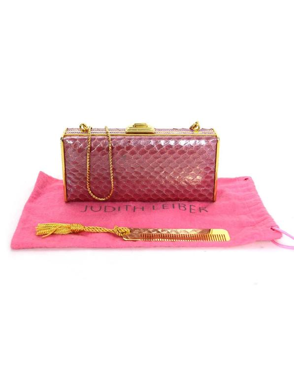 Judith Leiber Iridescent Pink Python & Crystal Minaudiere GHW For Sale 4