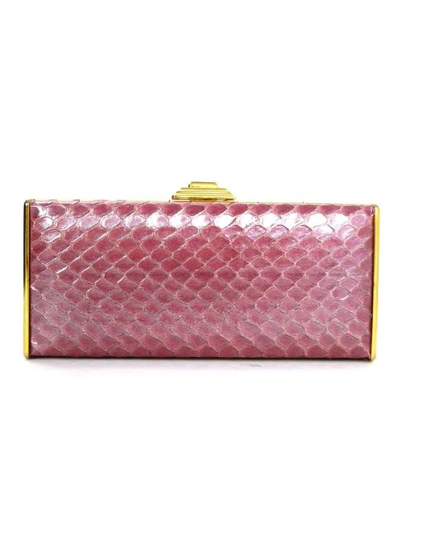 Judith Leiber Iridescent Pink Python & Crystal Minaudiere GHW In Excellent Condition For Sale In New York, NY