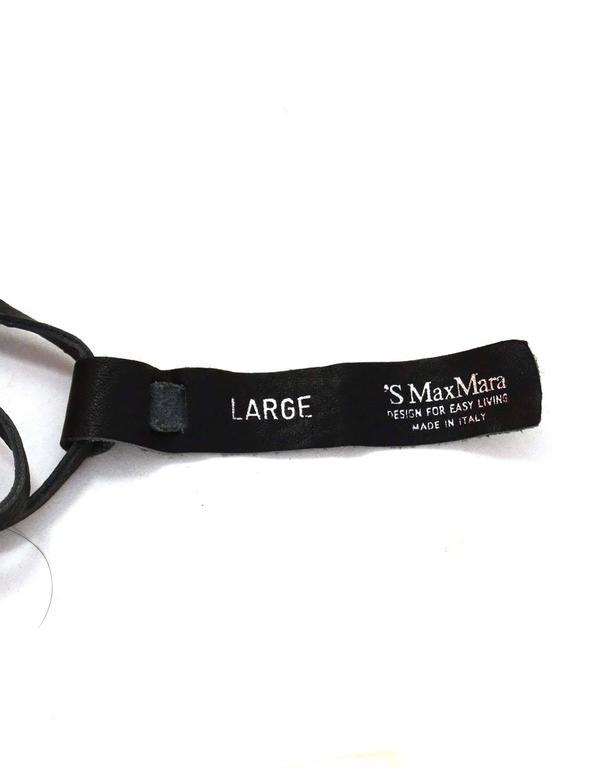 Max Mara Black Leather Tassel & MOP Wrap Belt sz L 2