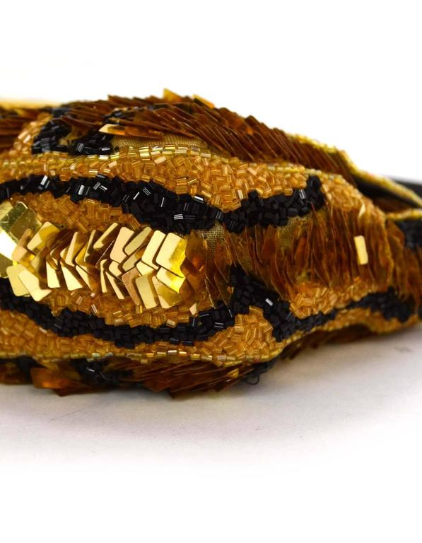 Fendi Gold & Black Sequin Baguette GHW 1